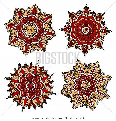 Circular patterns with red and yellow elements