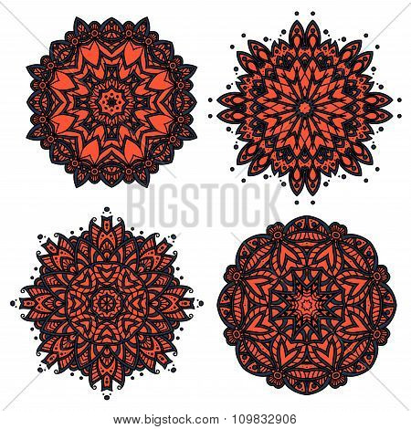 Floral patterns with red and orange flowers