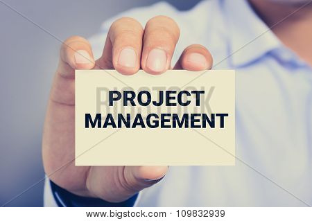 Project Management, Message On Virtual Screen Shown By A Man