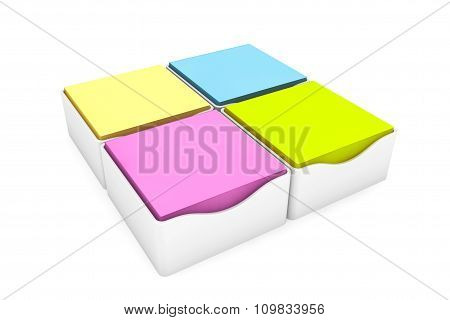 Multi Coloured Sticky Notes Stickers With A Holder Cases