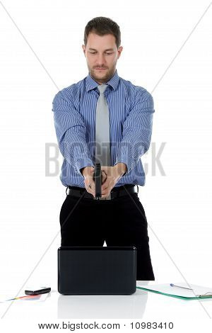 Caucasian Businessman Pointing With The Gun