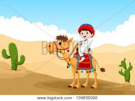 Illustration of Arab boy riding a camel in the desert