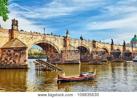 Charles Bridge From The Quay Of The Vltava River.czech Republic.