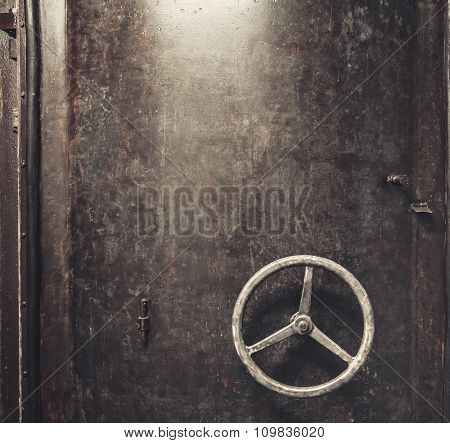 Industrial scratched metal door background