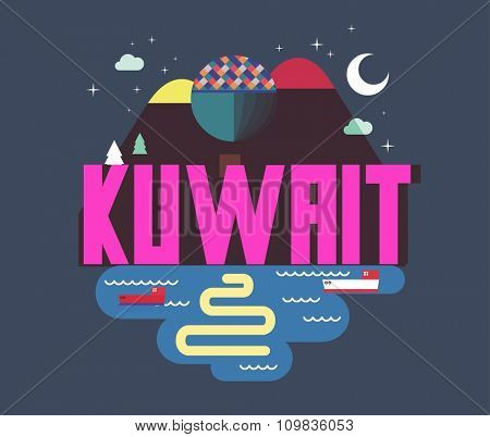 Kuwait in middle east is a beautiful country to visit. vintage vector illustration.