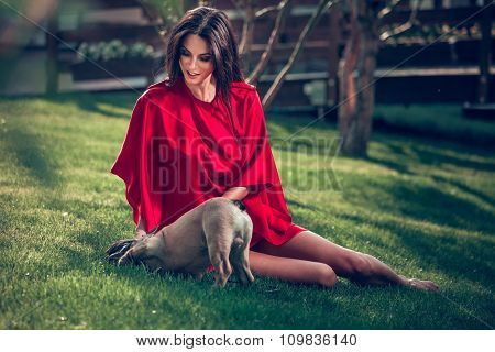 Young beautiful brunette woman sitting with dog on grass