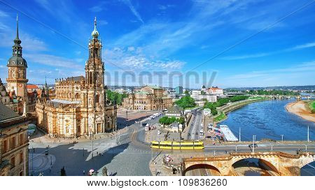 Old Town And Of Katholische Hofkirche,opera Semperoper, Dresden, Germany. Fly View.