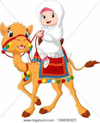 Illustration of Arab girl riding a camel