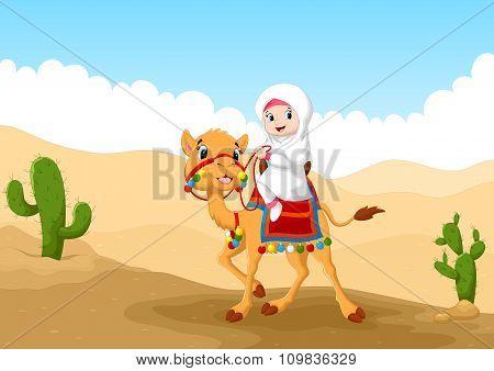 Illustration of Arab girl riding a camel in the desert