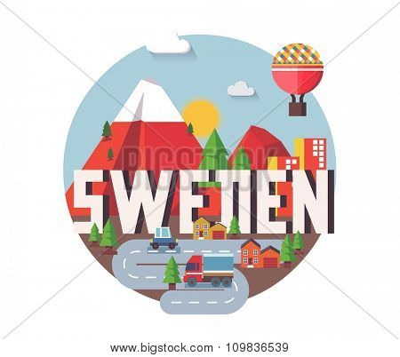 Sweden in europe is a beautiful country to visit. vintage vector illustration.