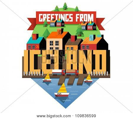 Iceland in europe is a beautiful country to visit. vintage vector illustration.