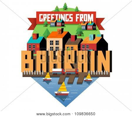 Bahrain in middle east is a beautiful country to visit. vintage vector illustration.