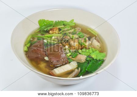 boiled pork blood and entrails with soup in bowl