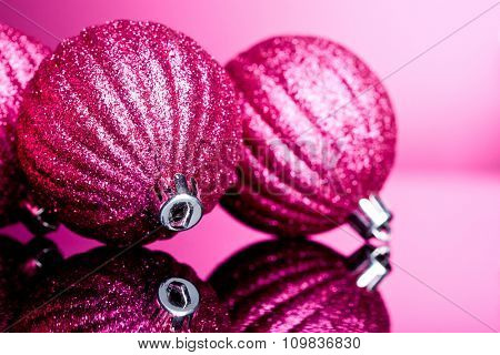 Christmas decoration on pink background
