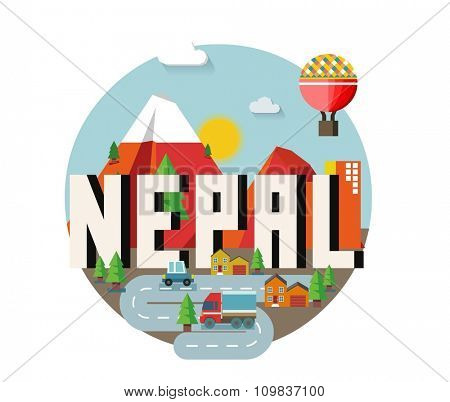 Nepal in Himalaya is a beautiful country to visit. vintage vector illustration.