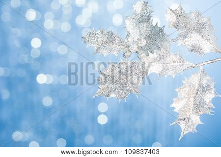 branch of Christmas tree with decoration background