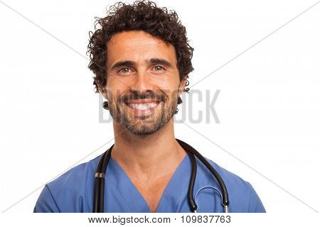 Portrait of an handsome doctor. Isolated on white