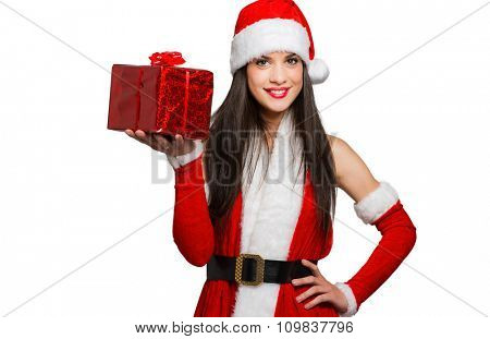 Portrait of a beautiful girl wearing Santa Claus clothes