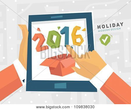 Holiday Design with New Year Gift. Mobile Technologies. Touch Screen with Hands. Modern Flat Style.