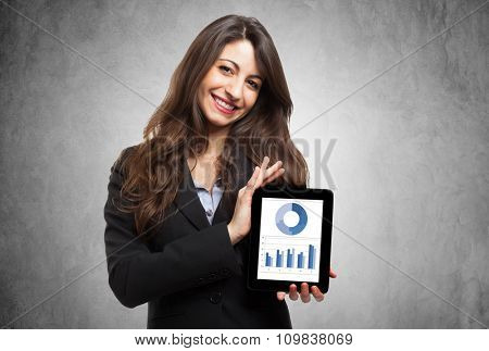 Businesswoman showing business graphs on a tablet computer