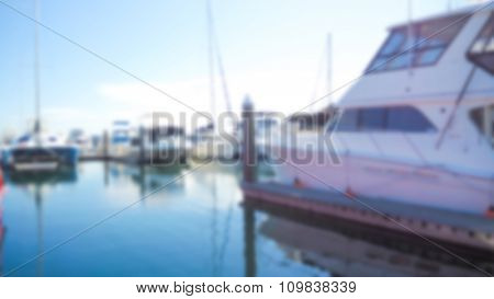Abstract blur Sea bay with yachts