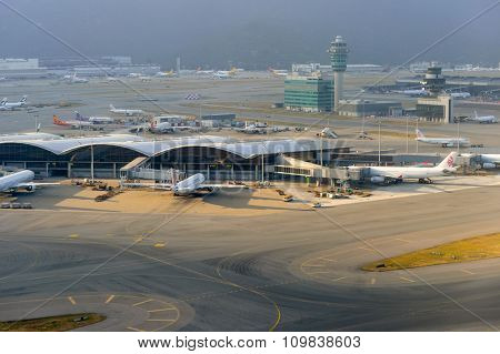 HONG KONG - NOVEMBER 16, 2015: aerial view on Hong Kong Airport. Hong Kong International Airport is the main airport in Hong Kong. It is located on the island of Chek Lap Kok