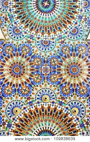 Detail of the decorations of Hassan II mosque in Casablanca, Morocco