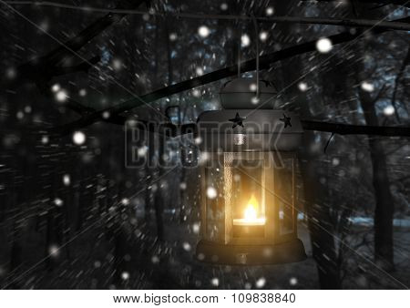 Lantern with candle on the background of winter nature