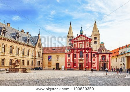 Prague, Czech Republic-september 05, 2015: Area Near Cathedral Of Saints Vitus.roman Catholic Metrop