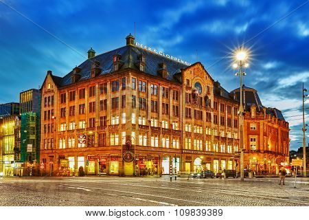 Amsterdam, Netherlands- September 15, 2015 :dam Square -the Main Central Square Of The Netherlands C