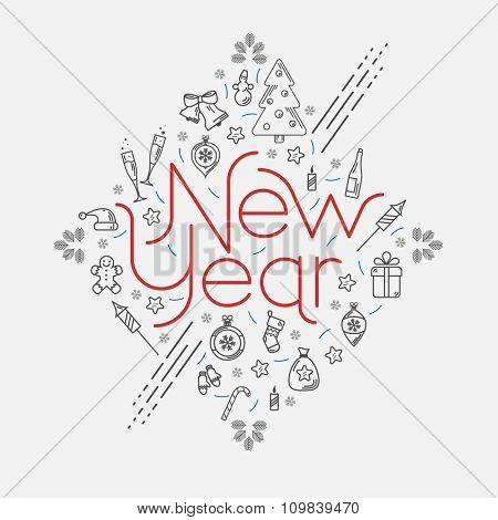 New year decorative illustration. Flat design.