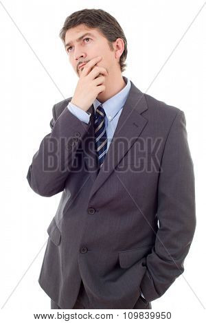 young business man thinking isolated on white