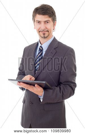 young businessman with a tablet pc, isolated