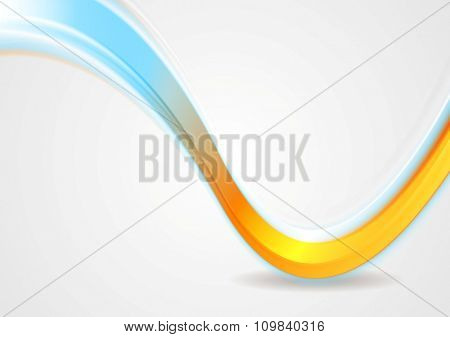Orange and cyan iridescent wave design. Vector background