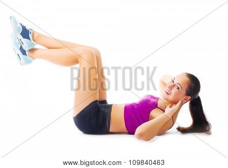 Sporty young girl isolated on white