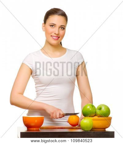 Young woman with fruits isolated