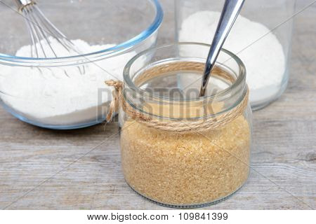 Glass Jar Filled With Cane Sugar