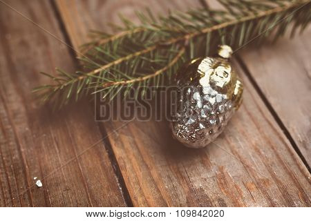 Vintage Christmass ball on wooden background