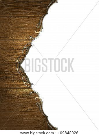 Wooden Background With Gold Pattern. Element For Design. Template For Design. Copy Space For Ad Broc