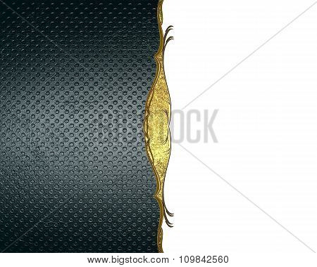 Blue And White Background With Gold Ornaments. Element For Design. Template For Design. Copy Space F