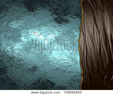 Blue And Brown Background With Gold Ornaments. Element For Design. Template For Design. Copy Space F