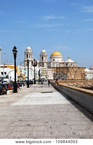 Cadiz waterfront and Cathedral.