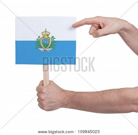Hand Holding Small Card - Flag Of San Marino