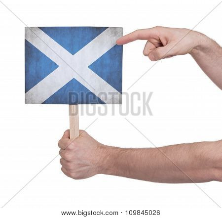 Hand Holding Small Card - Flag Of Scotland