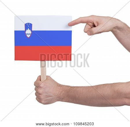 Hand Holding Small Card - Flag Of Slovenia