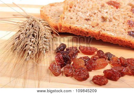 Fresh Baked Bread, Ears Of Wheat And Raisins
