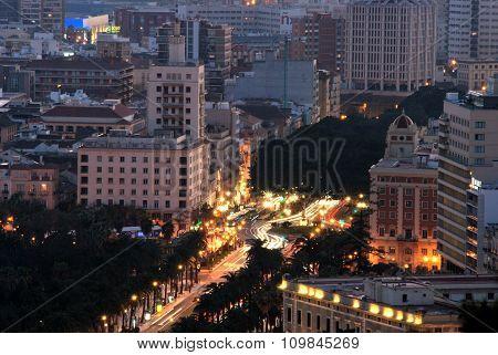 Malaga city at night.