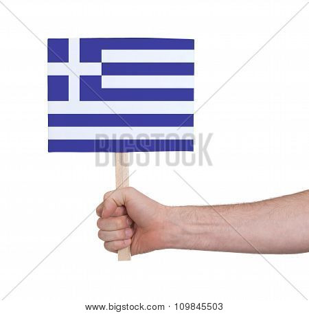 Hand Holding Small Card - Flag Of Greece