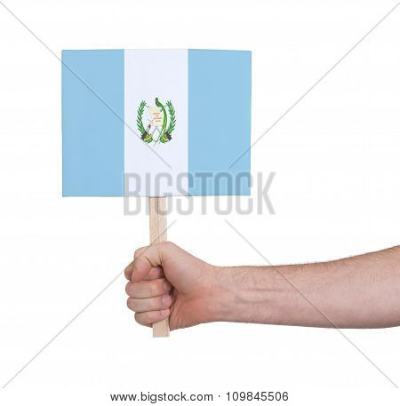 Hand Holding Small Card - Flag Of Guatemala