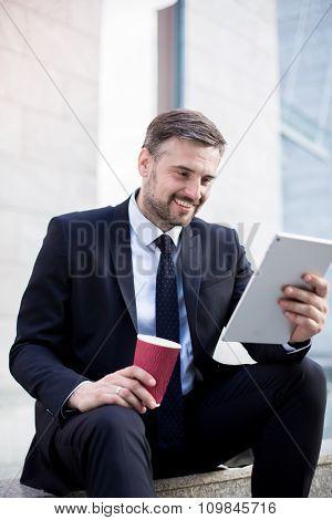 Fashionable Businessman Texting